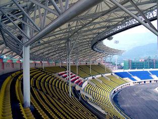 China Stahlrohr-Binder angenommenes Stahlkonstruktions-Herstellungs-große Spannen-Stadion fournisseur
